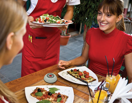 customers with waiter button